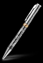 Ручка серебряная ручной работы с гравировкой