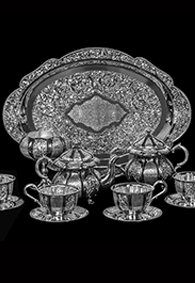 Серебряный чайный сервиз «Ланже»купить в Москве, СПб, цена от производителя - «Кавказ-Этно»