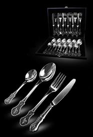 Серебряный набор столовых приборов на 6 персон «Кубачи»
