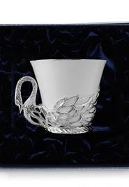 Чашка чайная серебряная «Лебедь»