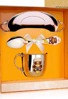 Набор серебряной детской посуды с тарелкой «Мишка»