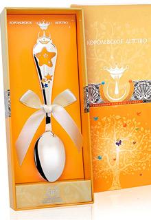 Детская серебряная ложка «Звезда» КД с позолотой и эмалью*