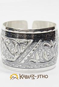 Широкий серебряный браслет «День и ночь»