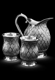 Кувшин и стаканы из серебра «Кружево»
