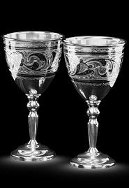 Две рюмки из кубачинского серебра. «Тюльпан»