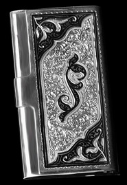 Серебряная визитница с гравировкой