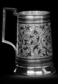Пивная серебряная кружка «Кубачи»