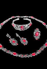 Набор серебряных украшений с кораллами «Цветочная фантазия»