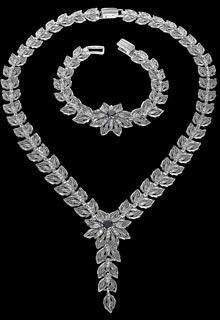 Серебряное колье и браслет «Звезда вечера»