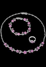 Комплект украшения из серебра «Рубиновые цветы»