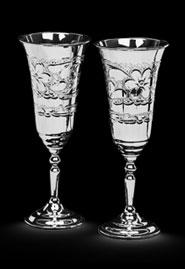 Пара серебряных бокалов «Цветы»