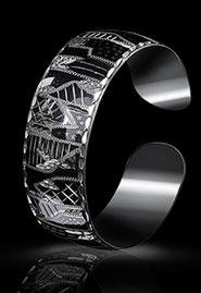 Браслет с геометрическим узором из кубачинского серебра