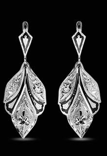 Серьги серебряные «Лист»