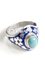 Кольцо серебряное с бирюзой и цветной эмалью