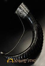 Натуральный рог тура, отделан серебром