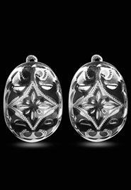 Серьги в форме овала из кубачинского серебра. Авторская работа