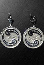 Серьги серебряные в форме монетки