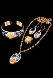 Комплект украшений из позолоченного серебра