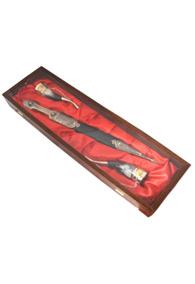 Набор: кинжал и 2 рога, отделка мельхиоровая с кожей