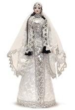 Фарфоровая кукла чеченка в свадебном платье