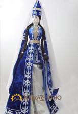 Кукла коллекционная в синем карачаевском национальном платье