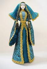 Подарочная кукла в чеченском наряде синего цвета