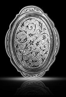 Серебряный поднос «Вьюнок», овальный