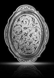 Серебряный поднос «Вьюнок» купить в Москве, СПб, цена от производителя - «Кавказ-Этно»