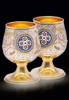 Позолоченные серебряные бокалы с эмалью