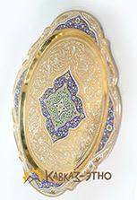 Позолоченный серебряный поднос с эмалью овальный