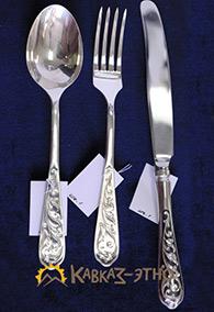 Серебряный столовый набор «Мархарай», 3 предмета