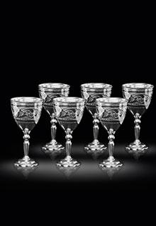 Набор 6 больших серебряных рюмок