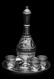 Набор серебряный водочный с 3 стопками