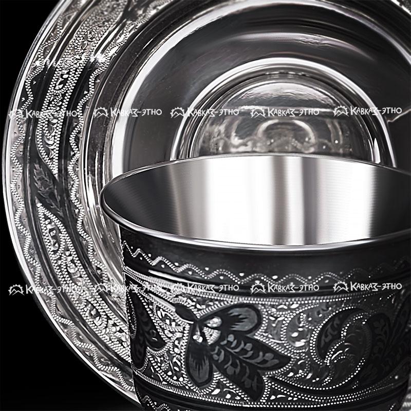 Серебряная чайная чашка с блюдцем