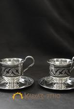 Серебряные чашки для кофе (пара)