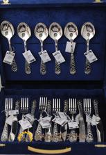 Набор столовых серебряных приборов на 6 персон купить в Москве