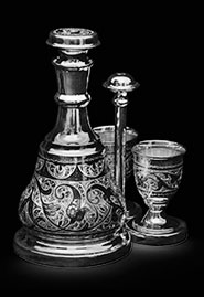 Набор водочный из кубачинского серебра