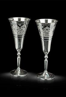 Серебряные фужеры для шампанского малые (пара)
