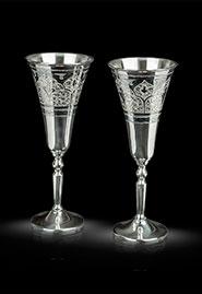 Бокалы для шампанского из кубачинского серебра