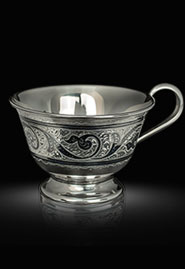 Серебряная чайная чашка классика