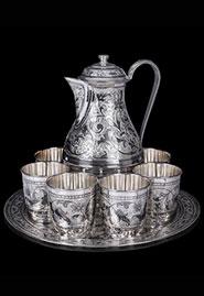 Сервиз из кубачинского серебра — кувшин, 6 чашек, поднос