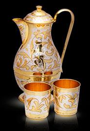 Серебряный кувшин и 2 стакана с позолотой