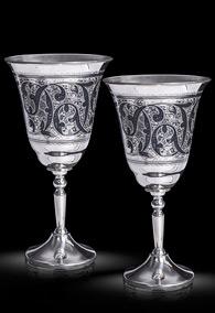 Большие серебряные винные фужеры (пара)
