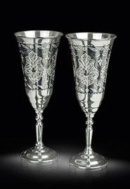 Серебряные фужеры для шампанского (пара)
