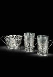 Чайный сервиз с конфетницей из кубачинского серебра