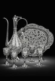 Сервиз коньячный из серебра «Восточная сказка»
