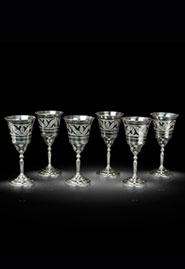 Набор винных фужеров из кубачинского серебра
