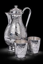 Кувшин и два стакана из серебра без чернения