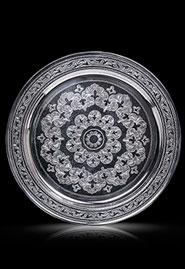 Серебряный поднос «Сказка» круглый большой