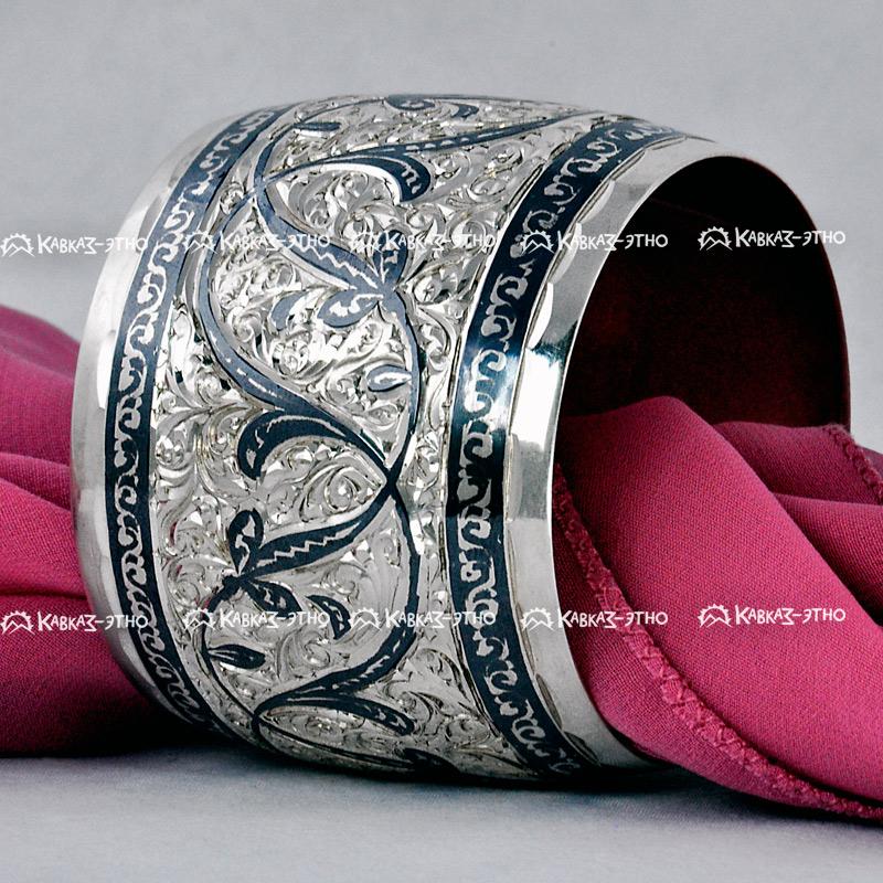 Серебряный кубачинский широкий браслет